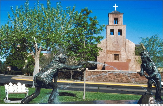 Statues by Santuario de Guadalupe church, Santa Fe, New Mexico